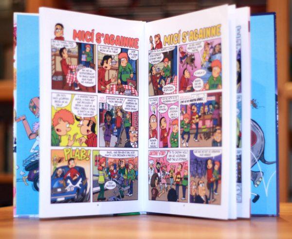 Inside pages of micí s'againne, an Irish language hardback comic