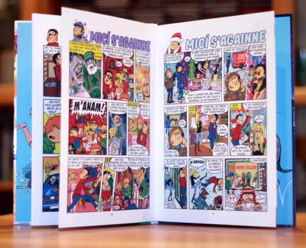 inside pages of micí s'againne an Irish language hard back comic