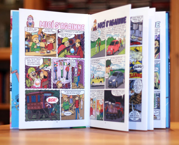 Inside pages of Micí s'againne, an Irish language comic