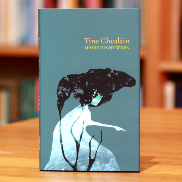 clúdach an leabhar tine ghealáin. Irish Language Poetry book.